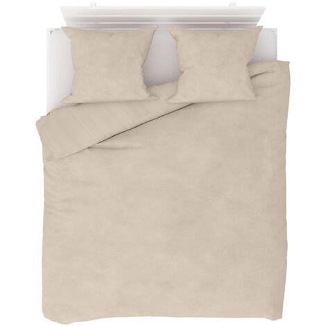 Duvet Cover Set Fleece Beige 200x200/60x70 cm