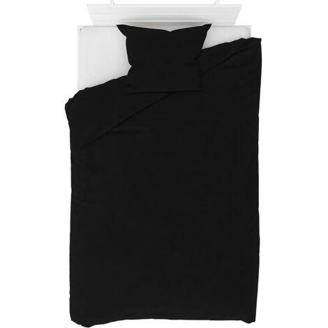 Duvet Cover Set Fleece Black 140x200/60x70 cm