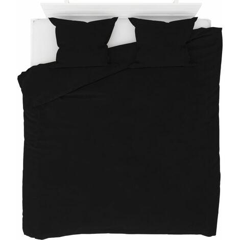 Duvet Cover Set Fleece Black 200x200/60x70 cm