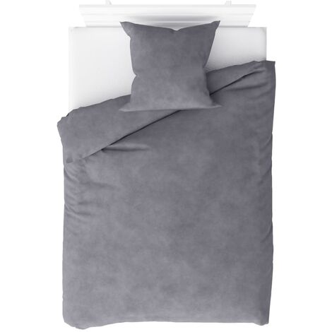 Duvet Cover Set Fleece Grey 140x200/60x70 cm