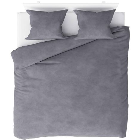 Duvet Cover Set Fleece Grey 200x220/60x70 cm