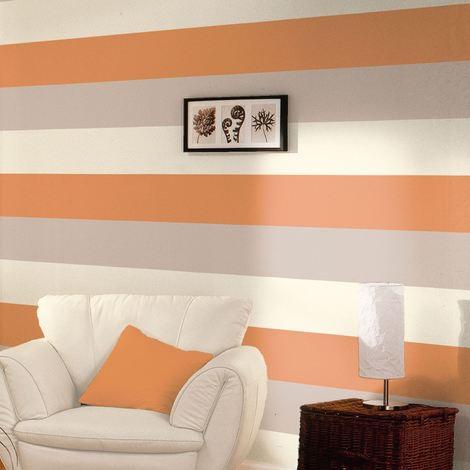 "main image of ""DWA057 Stripe Wallpaper Orange Mocha Cream Textured Vertical Or Horizontal Direct"""