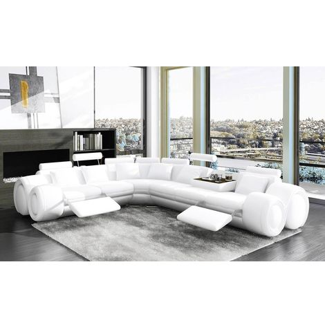 DYDDA - Canapé d'angle gauche en cuir de vachette avec relax blanc