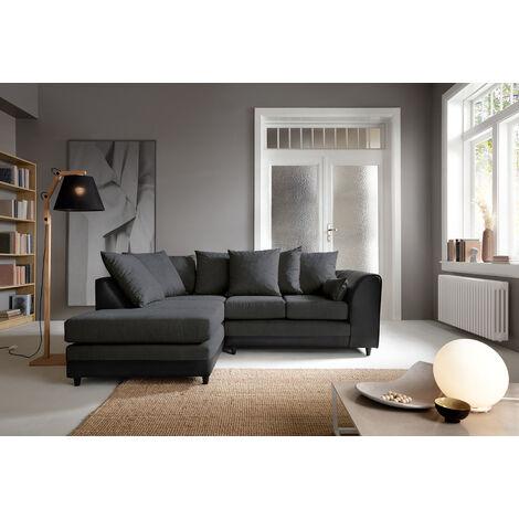 Dylan Byron Corner Group Sofa - Black, Left Hand - color Black