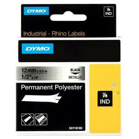 Dymo Ruban pour imprimante étiquette , 18486, 12mm, 5,5m, metallicRHINO permanent pol (18486)