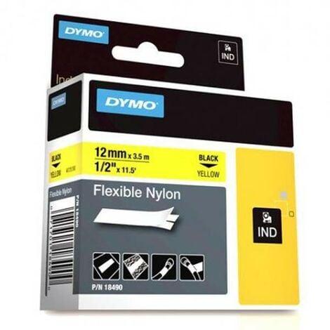 Dymo Ruban pour imprimante étiquette , 18490, 12mm, 3.5m, yellownylon flexible, O (18490)