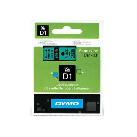 Dymo Ruban pour imprimante etiquettes 40919, S0720740, 9mm, 7m, noir, printing/greenD (40919)