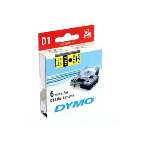 Dymo Ruban pour imprimante etiquettes 43618, S0720790, 6mm, 7m, noir, printing/yellow (43618)