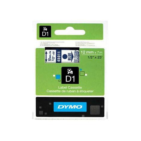 Dymo Ruban pour imprimante etiquettes 45011, S0720510, 12mm, 7m, bleu printing/transp (45011)