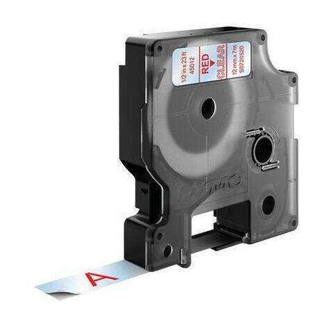 Dymo Ruban pour imprimante etiquettes 45012, S0720520, 12mm, 7m, red printing/transpa (45012)