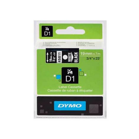 Dymo Ruban pour imprimante etiquettes 45811, S0720910, 19mm, 7m, blanc printing/black (45811)