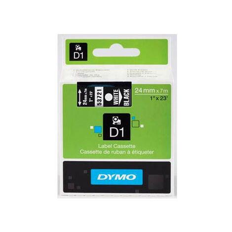 Dymo Ruban pour imprimante etiquettes 53721, S0721010, 24mm, 7m, blanc printing/black (53721)