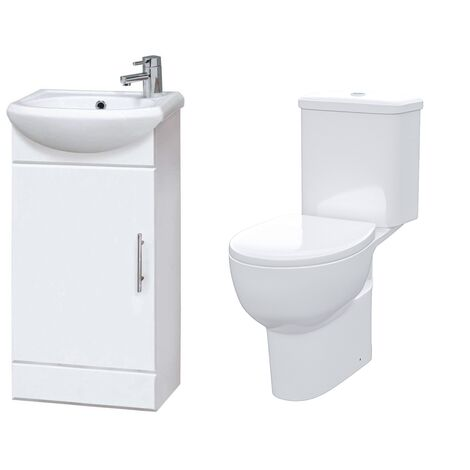 Dyon 420 mm Cloakroom Basin Vanity Cabinet with WC Toilet Set