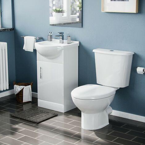 Dyon 450mm Cloakroom Basin Sink Vanity Cabinet Unit with WC Toilet Set