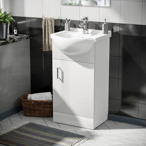 Dyon 450mm Floorstanding Vanity Basin Unit, Mini Mono Basin Tap & Waste White