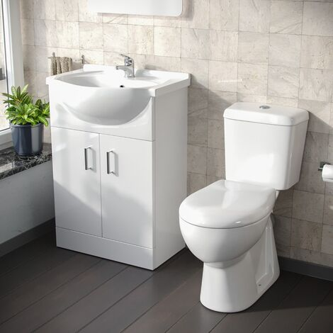 Dyon 550mm Floorstanding Vanity Basin Unit & Close Coupled Eco Toilet White