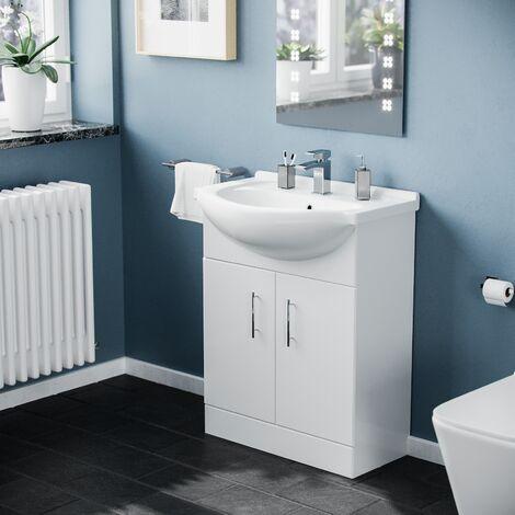 Dyon 650 mm White Bathroom Basin Cabinet Vanity Unit