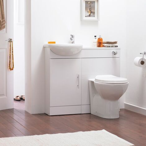 Dyon Small Basin Vanity Unit and Back to Wall WC Toilet