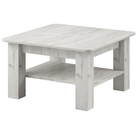 e-Com - Coffee Table RIO - 80 x 80 cm - Oak White