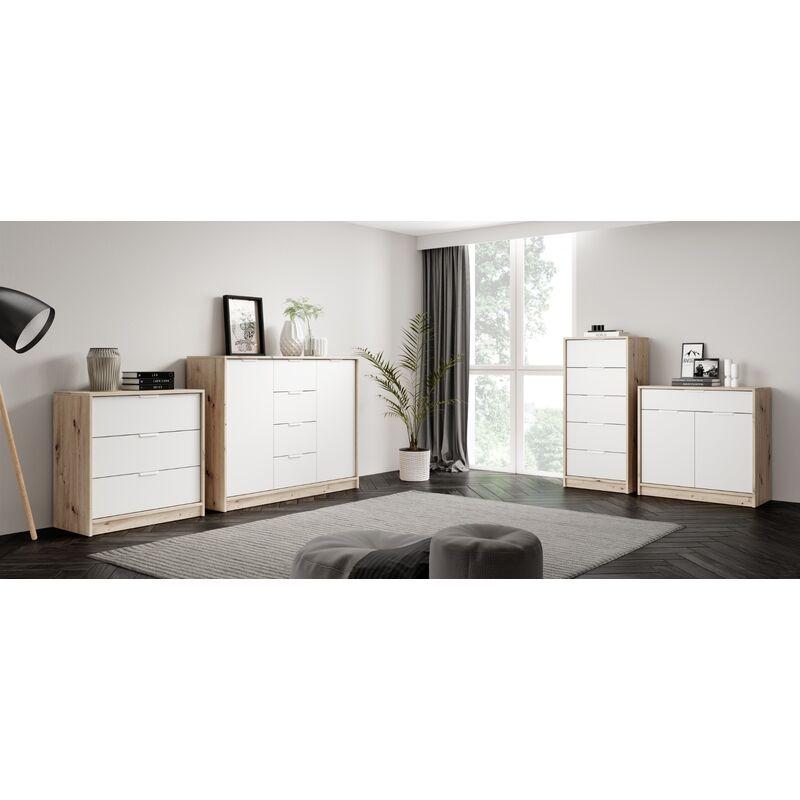 Sideboard 056 - 115 cm,Artisan/Weiss - E-com