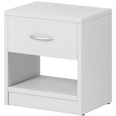 e-Com - Table de Chevet Table de Nuit Avec 1 Tiroir - 28 x 39 x 41 cm (P x L x H) - Blanc