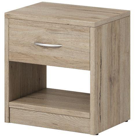 e-Com - Table de Chevet Table de Nuit Avec 1 Tiroir - 28 x 39 x 41 cm (P x L x H) - San Remo