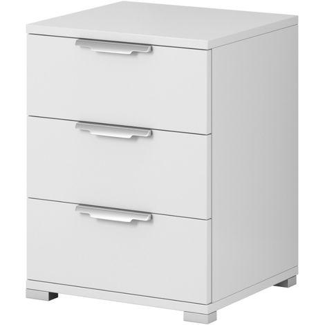 e-Com - Table de Chevet Table de Nuit Avec 3 Tiroirs - 61 x 46 x 42 cm (H x L x P) - Blanc