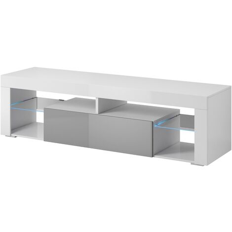 e-Com - TV Unit Cabinet Stand Sideboard TITAN - 140 cm - White / Grey +LED