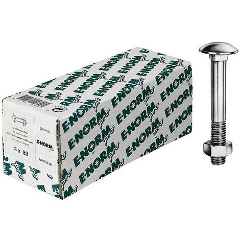 E-NORMpro Flachrundschrauben m.Vierkantansatz DIN 603 Mu galZn M8x140 HP (Inh.50 Stück)