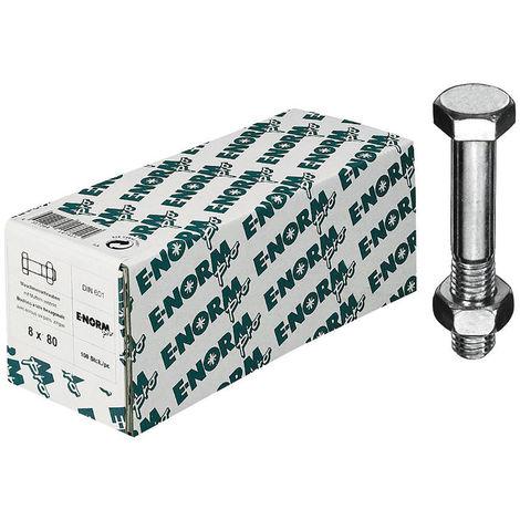 E-NORMpro Sechskantschrauben m. Schaft DIN 601 Mu galZn M8x120 HP (Inh.100 Stück)