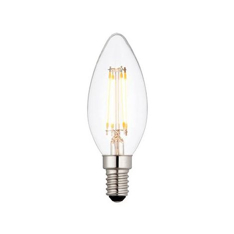 E14 Led Filament Candle Dimmable 4W Warm White Bulb - Clear Glass