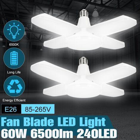 E26 4 lames 60W LED 6500LM blanc LED feux de garage AC85-265V ampoules LED déformables pour garage, atelier, établi, grange, entrep?t blanc Pas à vendre