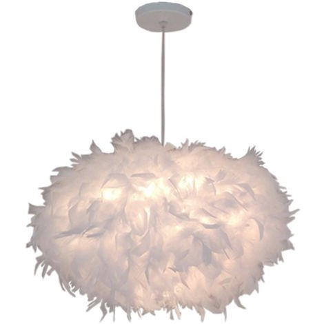 E27 45CM Lámpara Moderna de Techo Cubierta con Pluma (Blanco) para sala de estar Dormitorio Porche Bar Restaurante Hotel