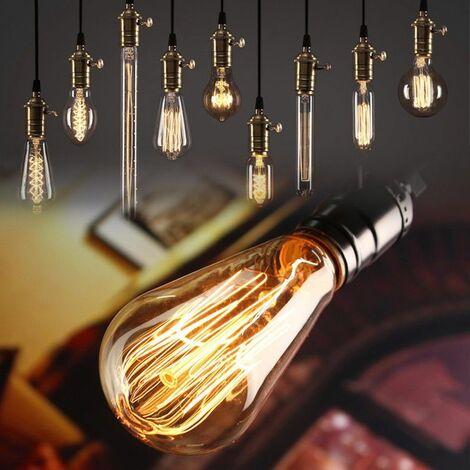 E27 60W Retro Edison Filament Vintage Antique Lumière Ampoule Incandescence Blanc Chaud Restaurant Bar Décoration De La Maison AC 220V (Blanc Chaud, Seulement Ampoule 220V)