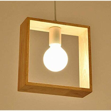 E27 Créatif Suspensions Luminaires Industrielle Bois Plafonnier Moderne Luminaire Lumiere Contemporain Suspensions Plafonniers Luminaire (Forme carree)