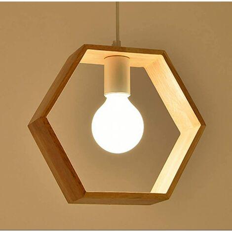 E27 Créatif Suspensions Luminaires Industrielle Bois Plafonnier Moderne Luminaire Suspensions Plafonniers Luminaire (Forme d'hexagone)