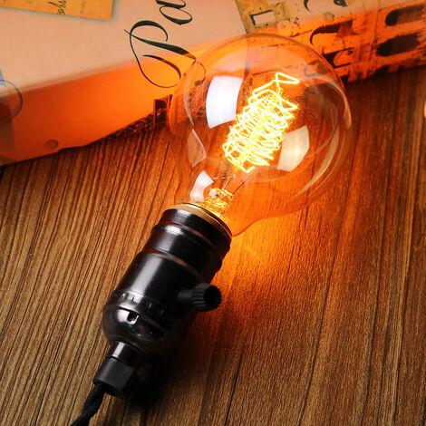 E27 Edison 2pcs Bombillas incandescentes G80 60W 220V Lámpara de filamento vintage Globe [Clase energética E]