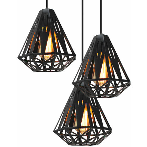 E27 Industrial Ceiling Pendant Lights Fitting Chandelier Lampshade 3-lights cage for Home Office Bedroom Living Room Dining Room Coffee Shop