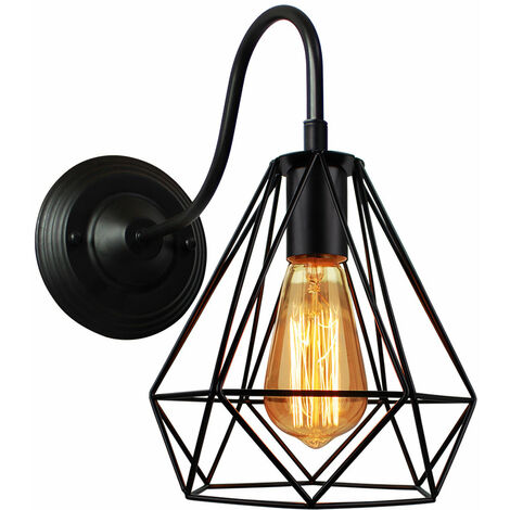 E27 Industrial Wall Light Vintage Lampshade Metal Cage Chandelier Diamond Ceiling Lamp for Living Room Kitchen Corridor Bedroom Cafe Bar (Black)
