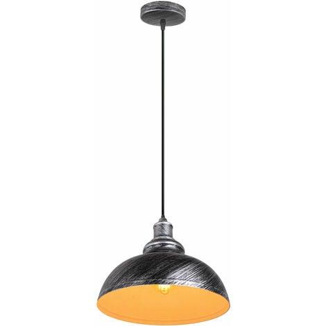 E27 Lámpara Retro Colgante Industrial de 300mm Lámpara del Techo de Hierro de Decoración para Sala de estar Cocina Restaurante Bar,(Gris plateado)