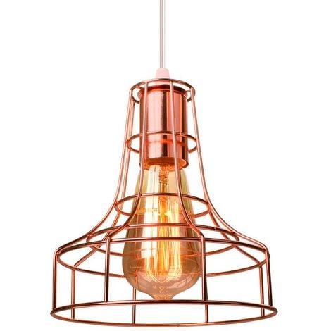 E27 Lampe Suspensions Abat-Jour Cage en Métal Cage Lampe de plafond avec Câble Décoration pour restaurant Chambre Salon ?Sans ampoules?