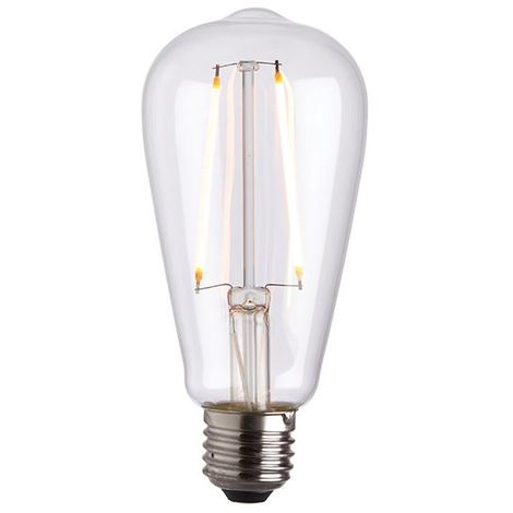 E27 LED Filament Bulb Pear 2W Warm White Energy Saving - Clear Glass