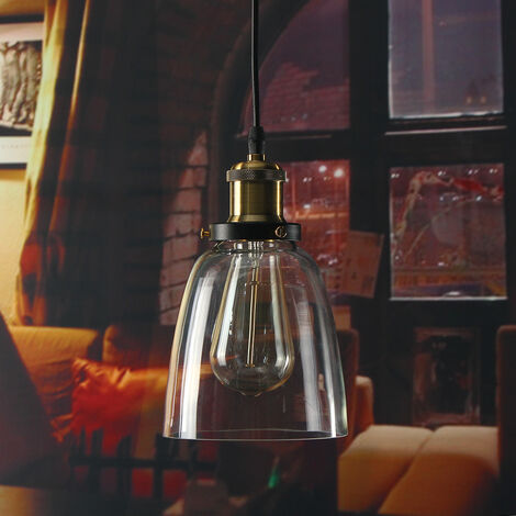 E27 luces colgantes de metal retro vidrio vintage industrial 14 * 16