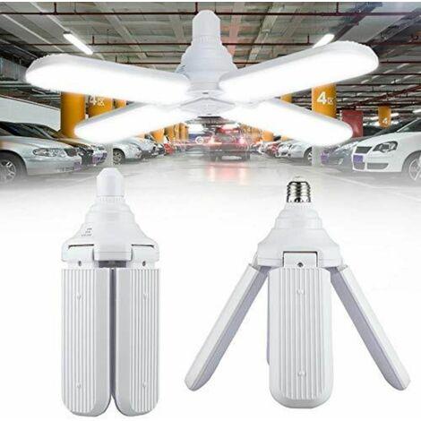 E27 Lumière de Garage de LED, 60W Lampe de Garage Déformable avec 4 Panneaux Réglables
