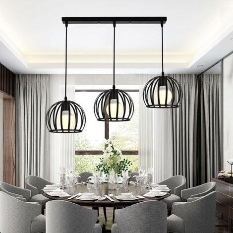 E27 Lustre Industriel Barre 3 Lampes Suspension Cage Contemporain Noir Pour Cuisine Salle A Manger Bar