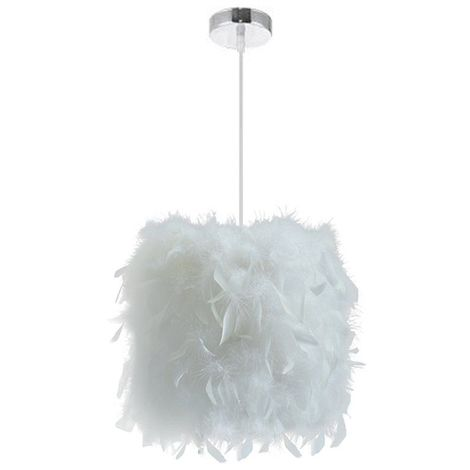 E27 Lustre Suspension En Plumes Blanche 23cm 40W, Abat Jour Rétractiles  Luminaire Plafonnier Pour