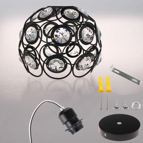 E27 Modern Chandelier 20cm Crystal Ceiling Lamp Retro Metal Ceiling Light for Kitchen Home Office Dining Room Bedroom (Black 2X)