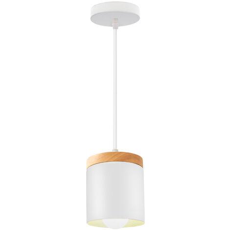 """main image of """"E27 Modern Pendant Light Nordic Ceiling Light Retro Metal Hanging Light for Kitchen Dining Room Office Bedroom (White)"""""""