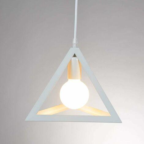 E27 Moderne Metal Suspensions Noir Cage Contemporain Plafonnier Lustre Luminaire BLANC