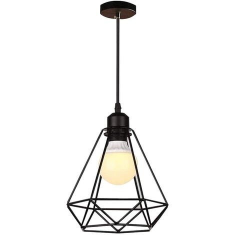 E27 Retro Chandelier Industrial Pendant Light Metal Ceiling Lamp Shade Black Vintage Industrial Diamond Pendant Light Fixture for Kitchen Dining Bedroom Cafe Bar